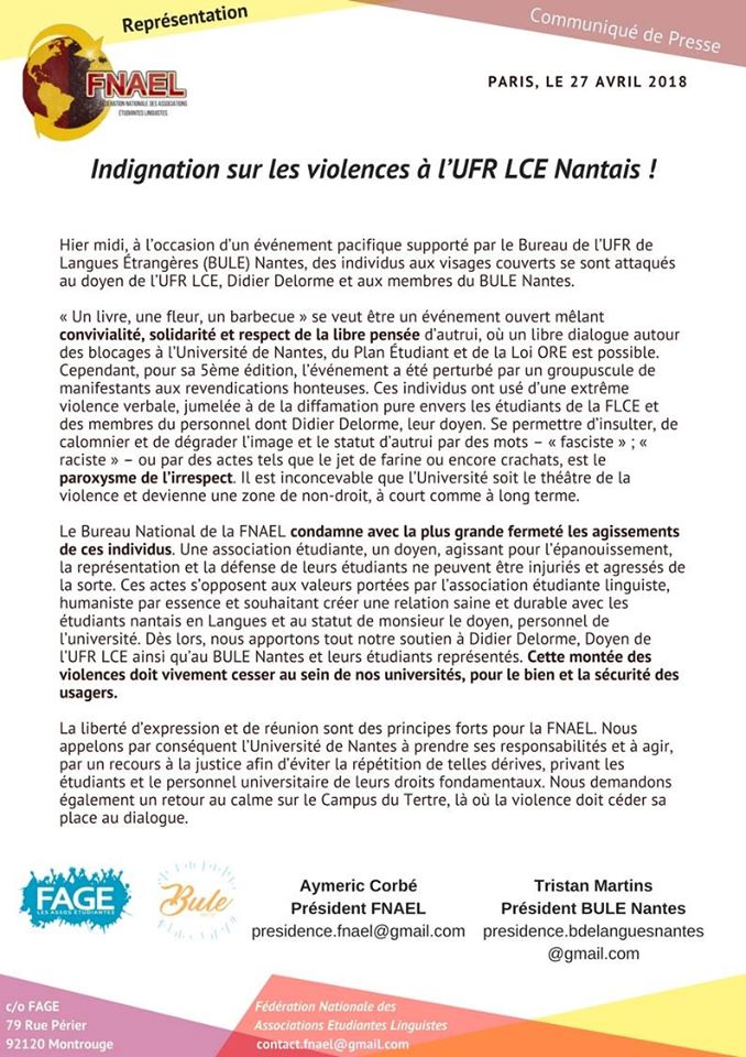 Indignation sur les violences à l'UFR LCE Nantais !